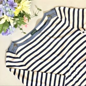 Striped Boat Neck Nautical Top